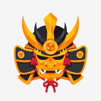 Platte samurai masker illustratie