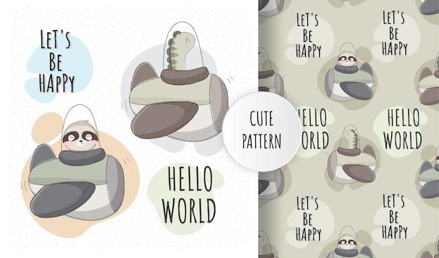 Platte schattige baby dino op vliegtuig patroon ingesteld