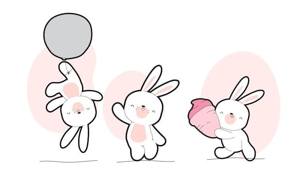 Platte schattige baby witte konijntje collectie illustratie set