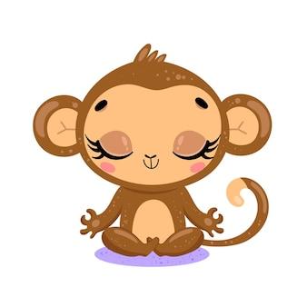 Platte schattige cartoon doodle aap meditatie tropische jungle dieren mediteren dieren yoga