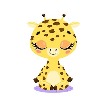 Platte schattige cartoon doodle giraffe meditatie tropische jungle dieren mediteren dieren yoga