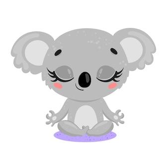 Platte schattige cartoon doodle koala meditatie tropische jungle dieren mediteren dieren yoga