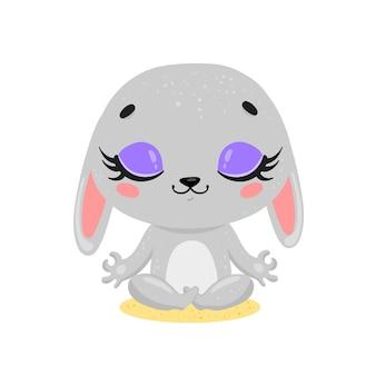 Platte schattige cartoon doodle konijn meditatie. bosdieren mediteren. dieren yoga