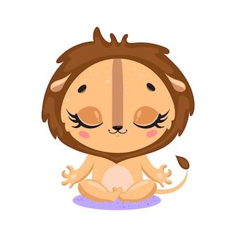 Platte schattige cartoon doodle leeuw meditatie tropische jungle dieren mediteren dieren yoga