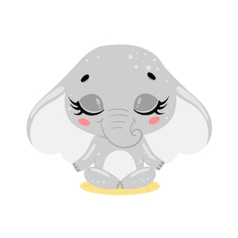Platte schattige cartoon doodle olifant meditatie tropische jungle dieren mediteren dieren yoga