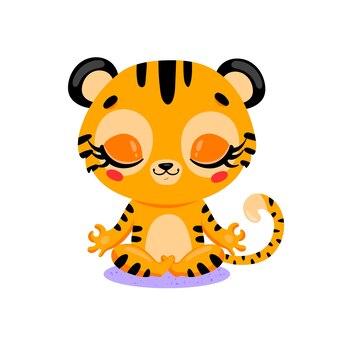 Platte schattige cartoon doodle tijger meditatie tropische jungle dieren mediteren dieren yoga