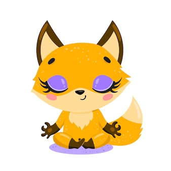 Platte schattige cartoon doodle vos meditatie. bosdieren mediteren. dieren yoga