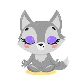 Platte schattige cartoon doodle wolf meditatie. bosdieren mediteren. dieren yoga
