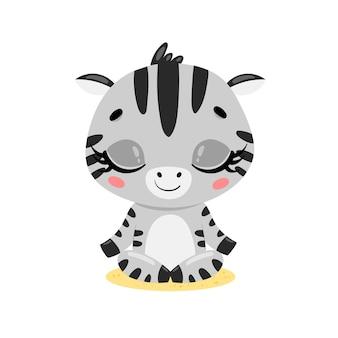 Platte schattige cartoon doodle zebra meditatie tropische jungle dieren mediteren dieren yoga