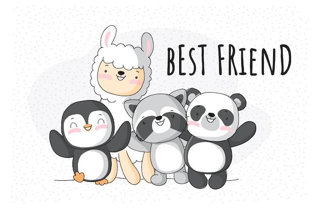 Platte schattige dieren familie illustratie voor kinderen