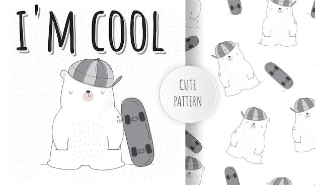 Platte schattige dieren witte beer met skateboard patroon set
