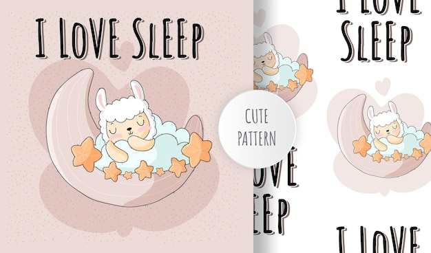 Platte schattige dierenlama slaap op de maan patroon set