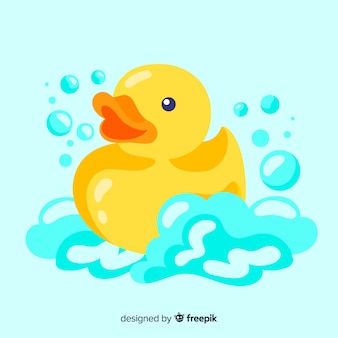 Platte schattige gele badeend