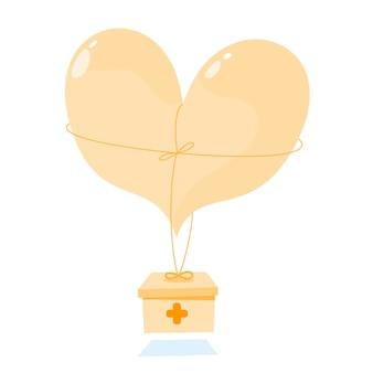 Platte schattige hartballon met gezondheid.