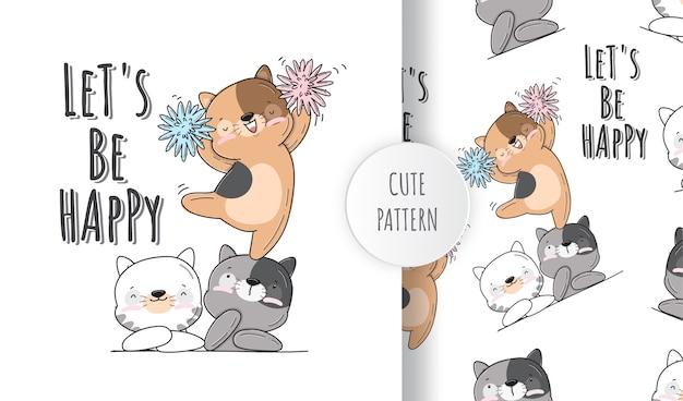 Platte schattige kleine kat dier patroon ingesteld illustratie