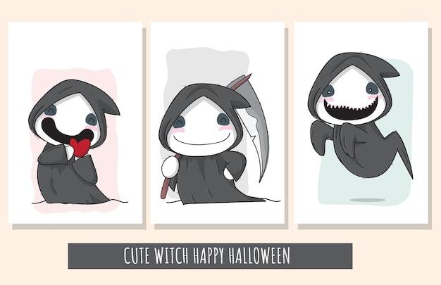 Platte schattige set heks karakter happy halloween illustratie voor kinderen