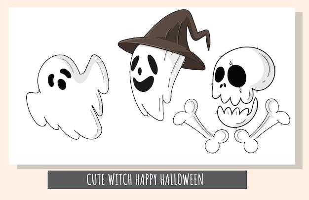 Platte schattige set spookkarakter happy halloween-illustratie voor kinderen