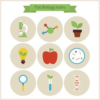 Platte school biologie icons set. platte gestileerde vectorillustraties. terug naar school. wetenschap en onderwijs set. verzameling van scheikunde botanie fytologie en onderzoeksobjecten. cirkelpictogrammen