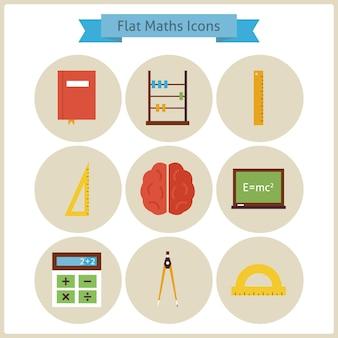 Platte school wiskunde en natuurkunde icons set. terug naar school. wetenschap en onderwijs set. verzameling van school- en universiteitscirkelpictogrammen. meetinstrumenten