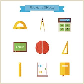 Platte school wiskunde en natuurkunde objecten set. terug naar school. wetenschap en onderwijs set. verzameling van school- en universiteitsobjecten geïsoleerd over wit. meetinstrumenten