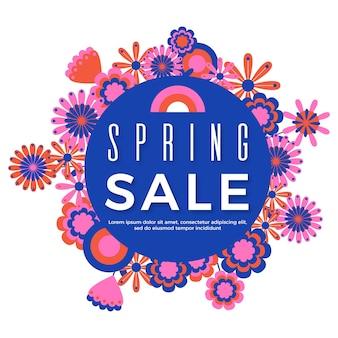 Platte seizoensgebonden lente verkoopthema ontwerp