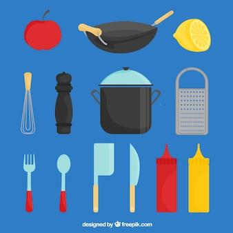 Platte selectie van chef-kok elementen met kleur details