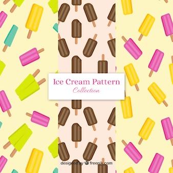 Platte selectie van drie patronen met popsicles