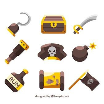 Platte selectie van piratenobjecten