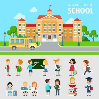 Platte set bus, school, studenten, leerlingen, geek, nerd en wonk situaties illustratie. onderwijs en kennis, terug naar schoolconcept. mensen iconen collectie.