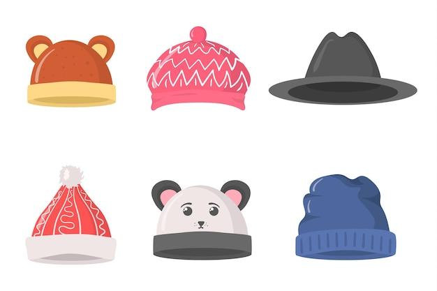 Platte set hoofddeksels hoedenkleding voor winter herfst retro stijl voor kerst nieuwjaar ontwerp