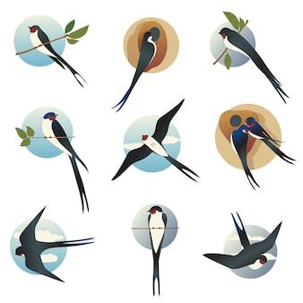Platte set martlets of boerenzwaluwen met cirkelvorm. wilde vogels met lange gevorkte staart