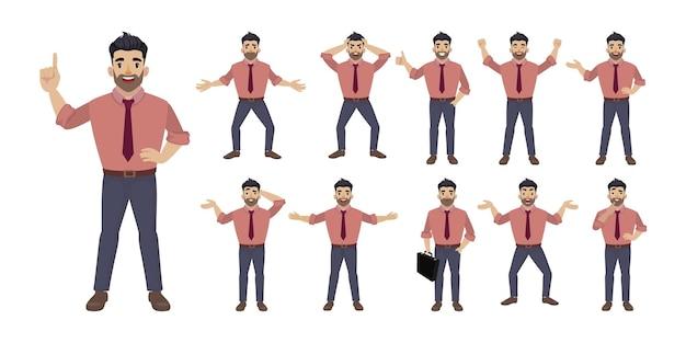 Platte set mensen met verschillende emoties