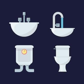 Platte set pictogram badkamer ontwerp