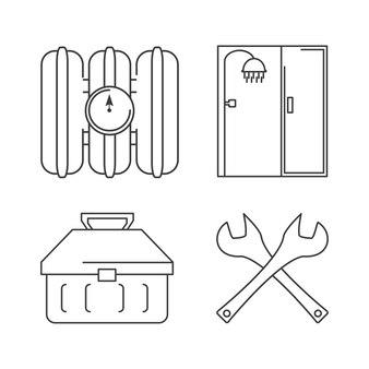 Platte set pictogram hulpprogramma's loodgieter vectorillustratie