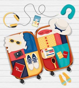 Platte set rond het thema reizen, vakantie, avontuur.