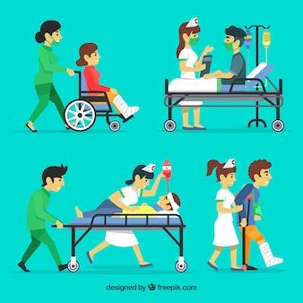 Platte set van artsen met patiënten