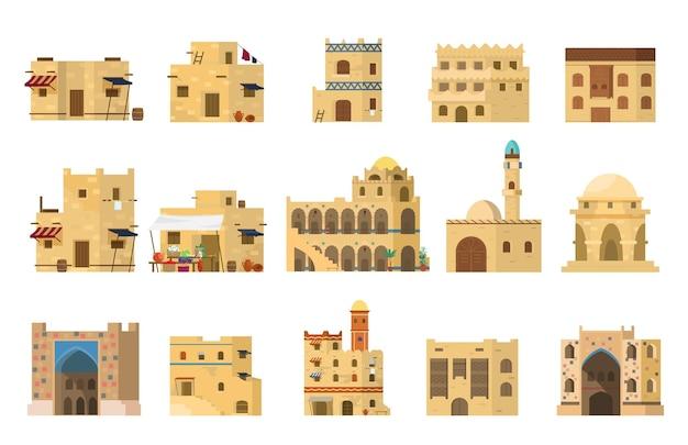 Platte set van authentieke traditionele arabische modderstenen huizen