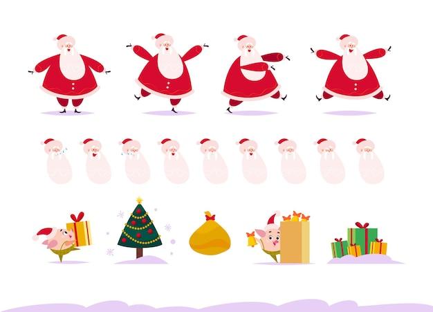 Platte set van de kerstman in verschillende poses