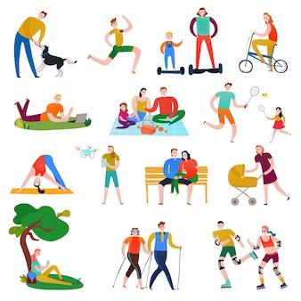 Platte set van kleurrijke pictogrammen met mensen die rust hebben aan het sporten in het park geïsoleerd op witte illustratie