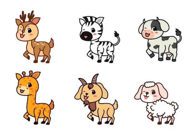 Platte set van schattige herten, zebra's, koeien en meer in verschillende acties. schattige bosdieren op een wit