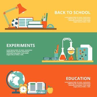 Platte set van terug naar school, wetenschappelijke experimenten, onderwijs website held afbeeldingen illustratie. onderwijs- en kennisconcept. huiswerk studententafel, kolf en reageerbuis, wereldbol en boek.