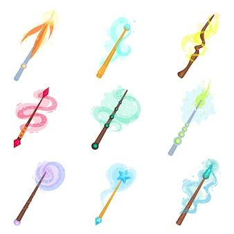 Platte set van verschillende magische toverstokken. sticks met magische gloed. hekserij thema kleurrijke pictogrammen