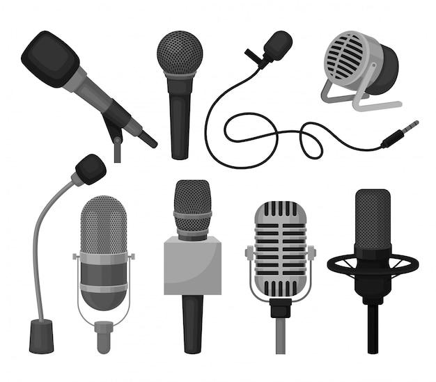 Platte set van verschillende microfoons. professionele geluidsopnameapparatuur. dynamische en condensatormicrofoons