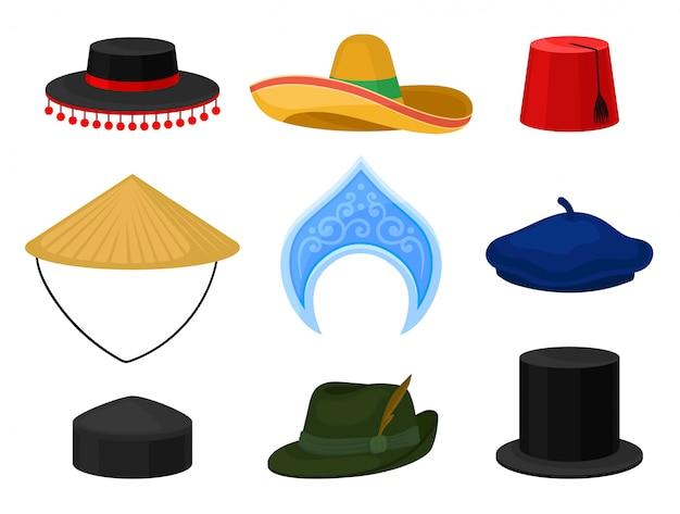 Platte set van verschillende nationale hoofdtooi. traditionele hoofddeksels. mannelijke en vrouwelijke accessoires