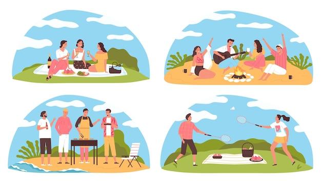 Platte set van vier kleurrijke composities met mensen die barbecueën en picknicken