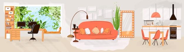 Platte set van woon- en werkinterieurs - woonkamerinterieur, keuken, kantoorwerkplek, comfortabele bank, bureau, raam, stoel en kamerplanten. platte meubelcollectie