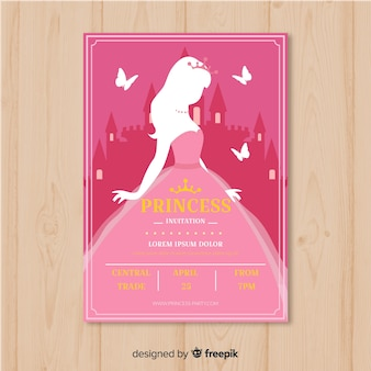 Platte silhouet prinses partij uitnodiging sjabloon