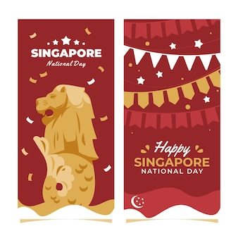 Platte singapore nationale feestdag banners set