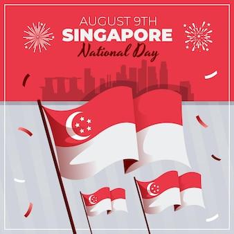 Platte singapore nationale feestdag illustratie