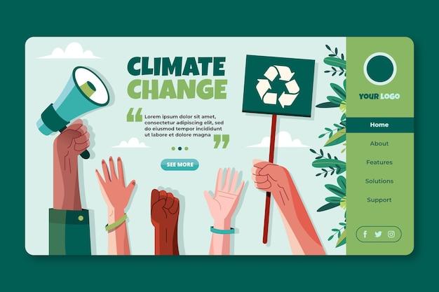 Platte sjabloon voor bestemmingspagina's voor klimaatverandering